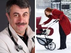 Dr. Komarovsky over wandelen met een pasgeborene in de winter