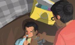 Un singur tată a devenit faimos pentru desenele sale despre viața cu un copil