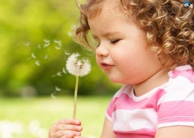Girl bertiup dandelion