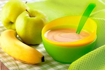 น้ำซุปข้นแอปเปิ้ลกล้วยสำหรับโภชนาการเด็ก