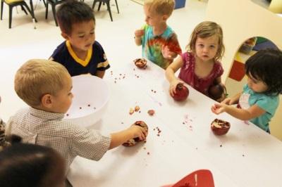 Anak makan buah delima dengan tulang