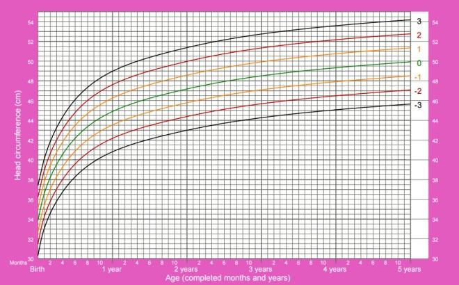 Circunferência da cabeça de meninas desde o nascimento até 5 anos que
